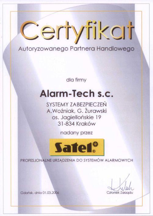 certyfikat SATEL dla NAPAD.pl